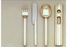 """CIGA silverware. 1979. Product design by Vignelli Associates. """"As part of the overall design program for CIGA, we designed all the hotel silverware and hollowware, based on the motif generated by the flatware in this picture."""""""