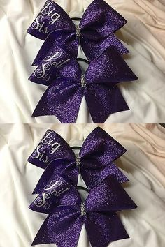 Hair Accessories 57920: Big Sis Lil Sis - Purple Glitter Cheer Bows -> BUY IT NOW ONLY: $35 on eBay!