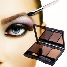 3 Color Eyebrowr Shadow Palette  with Ended Brushes