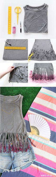 DIY cut Up T-shirts #diypantsdecoration #diyshirtsdecorating