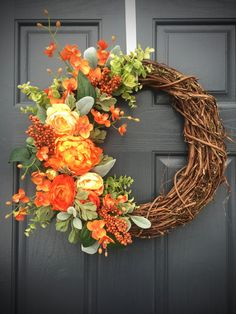 Orange Spring Wreath, Spring Door Decor, Orange Floral Wreath, Spring Designs, Orange and Green, Spring Door Wreaths, Orange Decor by WreathsByRebeccaB on Etsy