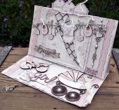 Hello,this is a card I made using the Vintage Baby Collection from Maja Design, & the new bay Chipboard from Dusty Attic Baby Girl Cards, New Baby Cards, Diy Cards, Handmade Cards, Gift Tags, New Baby Products, Embellishments, Diy And Crafts, Decorative Boxes