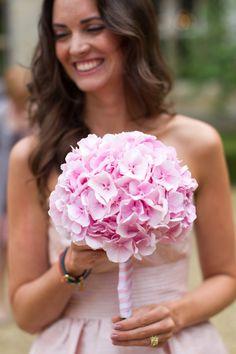 hydrangea pink bridesmaid bouquet   #pink #bouquet http://www.weddingchicks.com/2013/12/09/elegant-english-wedding/