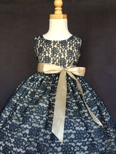etsy- 30.00 Flower Girl Bridesmaids Pageant Special Occasion  Elegant Navy Blue  Lace Dress 6 12 18 24 Months 2 4 6 8 10 12 14