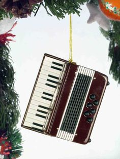 Music Treasures Co. Maroon Accordion Christmas Ornament