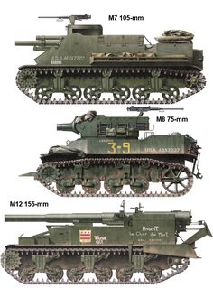 US M5A3 Close Support Tank; M7 Priest & M15 155mm HMC