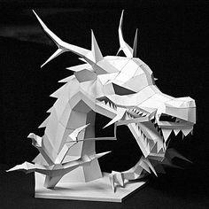 A printable Asian dragon head paper model.