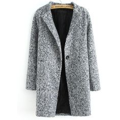 Single Button Tweed Coat ($32) ❤ liked on Polyvore featuring outerwear, coats, jackets, coats & jackets, tops, grey, one button coat, leather-sleeve coats, longline coat and gray coat