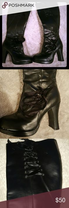 NWOT corset goth boots Nwot Victorian corset goth boots Just never wore, some marks from sitting in my closet. Vegan leather Side zipper Goth Punk  Halloween  costume  Gothic  Hot topic  Dollskill Hot Topic Shoes Heeled Boots