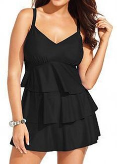 Layered V Neck Solid Black Swimdress on sale only US$28.47 now, buy cheap Layered V Neck Solid Black Swimdress at lulugal.com