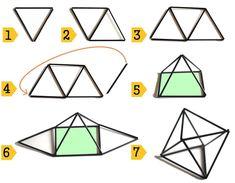 stappenplan diamant 4x3 himmeli Straw Crafts, Diy Straw, New Years Decorations, Christmas Decorations, Bohemian Christmas, Diy And Crafts, Arts And Crafts, Geometric Sculpture, Diy Light Fixtures