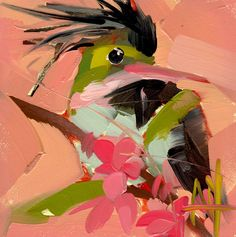 Black Crested Coquette Bird Art Print by Angela Moulton 6 x 6 inch