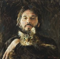 "Paul Oxborough ~ ""Me and Murph"" (self portrait) Cat Painting Figure Painting, Painting & Drawing, Alfons Mucha, Cincinnati Art, Son Chat, Digital Museum, Cat People, Animal Paintings, Pet Portraits"