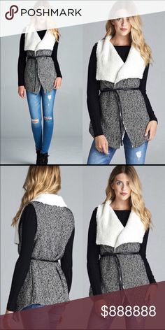 🍁Coming Soon!!!!!🍁 Coming Soon!!!! Amazing tweed and faux fur vest!!! 80% polyester and 20% wool, will be available in small, medium and large!! Like this listing to be notified when they arrive!! WILA Jackets & Coats
