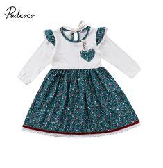 5d38323836 0-6Y Bebé Niñas Vestido A Juego de la Familia Conjuntos Niños de Manga Larga  de Impresión Fiesta de Boda Del Desfile de Vestidos Vestido de Tirantes