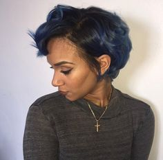 Short hair grown out pixie cut blue hair