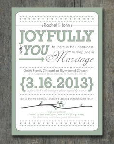 Typographic rustic wedding invitations