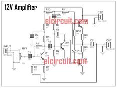 Mini power amplifier with a power output that is not big enough, and this power amplifier can be supplied with voltage up to asymmetric. Electronics Projects, Electronics Components, Diy Electronics, Dc Circuit, Circuit Diagram, Amplificador 12v, Wireless Battery Charger, Radios, Electronic Circuit Design