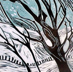 'Winter' linocut by Patricia Latham. http://www.afterthebauhaus.com/ Tags: Linocut, Cut, Print, Linoleum, Lino, Carving, Block, Woodcut, Helen Elstone, Snow, Trees.
