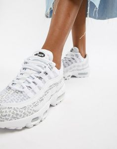 77938d024 Nike Just Do It White And Black Newspaper Print Air Max 95 Se Trainers