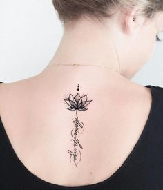 ▷ 1001 + Ideas and inspirations for a lotus flower tattoo- ▷ 1001 + Ideen und Inspirationen für ein Lotusblume Tattoo lotus flower tattoo on the back, small lotus in combination with lettering, blackwork tattoo - Small Flower Tattoos, Flower Tattoo Designs, Small Tattoos, Tattoo Flowers, Flower Spine Tattoos, Unalome Tattoo, Tattoo Life, Tattoo You, Trendy Tattoos
