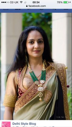 Love the statement necklace paired with saree and blouse. A good example for what to wear to an Indian wedding. LOOKS ABSOLUTELY EXQUISITE! Indian Attire, Indian Wear, Indian Dresses, Indian Outfits, Indian Jewellery Design, Beaded Jewelry Designs, Techniques Couture, Indian Fashion, Womens Fashion