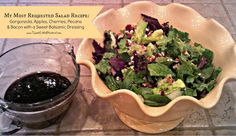 My Most Requested Salad Recipe ~ Gorgonzola, Apple, Cherries, Pecans & Bacon Salad with Sweet Balsamic Dressing!  If you like the ingredients, you will going back for seconds!