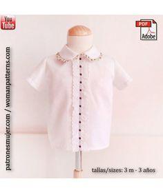 Patrón camisa niño con cuello bebe, con vídeo tutorial para aprender hacerlo.