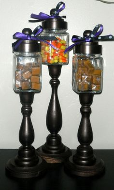 Standing glass candy dish trio.  centerpiece idea...