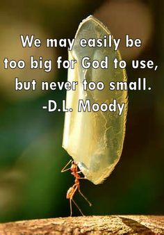 Never too small, D.L. Moody