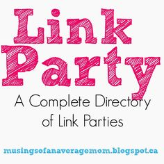 A huge list of Link Parties sorted by day, time and category. As well as a Giveaway Directory and list of Pinterest Group Boards.