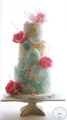 Whimsical Pastel Wedding Cake by Tita Cakes - Mon Cheri Bridals Pastel Wedding Cakes, Beautiful Wedding Cakes, Gorgeous Cakes, Pretty Cakes, Amazing Cakes, Whimsical Wedding, Chic Wedding, Spring Wedding, Garden Wedding