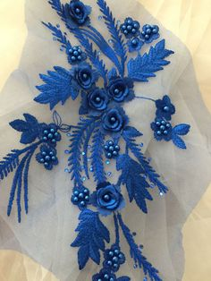 Royal Blue Beaded Lace Applique with Pearl, Beaded lace motif , Venice lace applique in Aqua for wed Tambour Embroidery, Embroidery Works, Couture Embroidery, Ribbon Embroidery, Lace Applique, Embroidery Stitches, Floral Embroidery Patterns, Hand Embroidery Designs, Beaded Lace Fabric