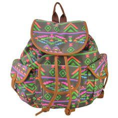 stacy bag hot popular women canvas backpack female colorful ethnic printing pocket travel backpack girls travel bag schoolbag $14.00