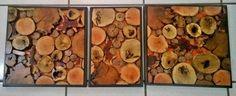 cuadros de diferentes tipos de madera en rodajas, montados en triplay de maple y marco de pino entintado al chocolate.