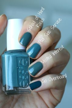 "Essie - Pool Side Service. ""Just as I suspected. Pool Side Service is close to Vested Interest and School of Hard Rocks but more blue. In person I thought this was even a touch bluer than the photo is showing. Go Overboard is quite a bit darker"""