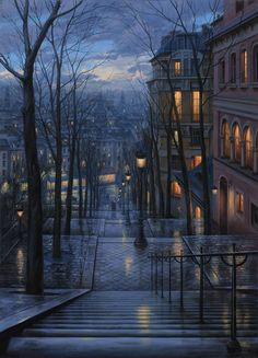 Rendezvous on Rue du Mont Cenis. Evgeny Lushpin.    His landscape paintings are beyond gorgeous.