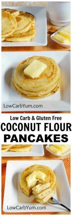 Low carb & gluten free coconut flour pancakes Ketogenic Recipes, Diabetic Recipes, Low Carb Recipes, Cooking Recipes, Easy Recipes, Diabetic Snacks, Healthy Recipes, Milk Recipes, Low Carb Paleo