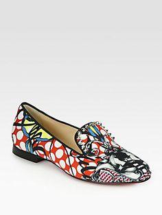 Christian Louboutin Sakouette Studded Satin Loubi-Print Smoking Slippers