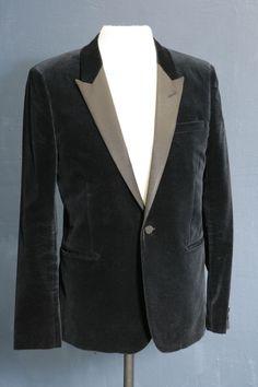 Mens designer blazer/jacket by Saint Laurent black velvet evening wear 40 chest
