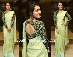 Raashi Khanna attended the pre-release function of her upcoming movie Touch Chesi Chudu wearing a plain green saree paired with black and green printed full sleeves blouse. Silver earrings and a soft updo rounded out her look! White Blouse Designs, Full Sleeves Blouse Designs, Saree Blouse Neck Designs, Latest Saree Blouse, Fashion Show Dresses, Stylish Blouse Design, Blouse Models, Saree Look, Sarees