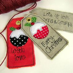love these Christmas fabric gift tags......If you want to make your OWN Xmas decorations, clothes and gifts you can - at our weekly Stitch Classes in Brighton & Hove! http://www.sewinbrighton.co.uk/stitchclasses.html