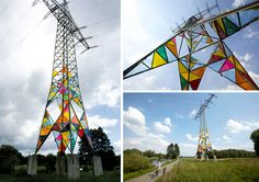 Art Students Transform an Electrical Tower into a Stained Glass Lighthouse  http://www.thisiscolossal.com/2014/07/stained-glass-electrical-tower/