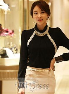 New Arrival Graceful Slim Long Sleeves Turtle Collar Lace Base Shirt