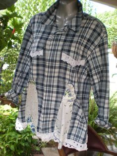 Ladies upcycled Cotton Shirt by Mizlibbyb on Etsy Sewing Clothes, Diy Clothes, Clothes For Women, Ladies Clothes, Shirt Makeover, Shirt Refashion, Upcycle Shirts, Altering Clothes, Recycled Fashion