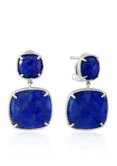 Effy  Square Lapis Earrings in Sterling Silver