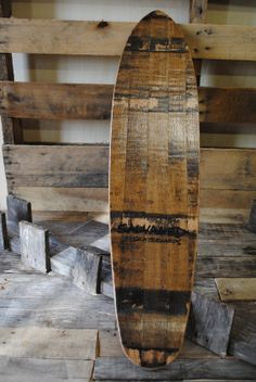 Cruiser deck handcrafted from repurposed whiskey barrel staves!. Skateboard