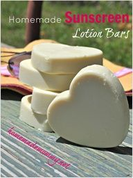 These are BRILLIANT! They go on smooth and not greasy and they don't make your skin look white as a GHOST! Homemade Non-toxic Sunscreen Lotion Bars via Homemade Mommy