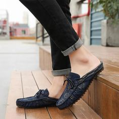 Loafers Slippers Summer Sandals Men's Casual Shoes | Touchy Style Discount Shoes Online, Mens Shoes Online, Mens Loafer Slippers, Loafers Men, Mens Dress Sandals, Men's Sandals, Best Sandals For Men, Royal Blue Shoes, Shoes With Jeans