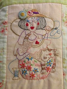 Crewel Embroidery Lynda in Wonderland: Gingham Girls - Learn Embroidery, Crewel Embroidery, Hand Embroidery Patterns, Vintage Embroidery, Cross Stitch Embroidery, Embroidery Designs, Red Brolly, Expo, Wool Applique